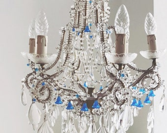 Rare Italian antique crystal beaded chandelier, rare crystal drops 6 lights, blue glass flowers