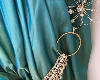 SET OF 2 Swarovski rhinestones and gold chains tieback with handmade flowers