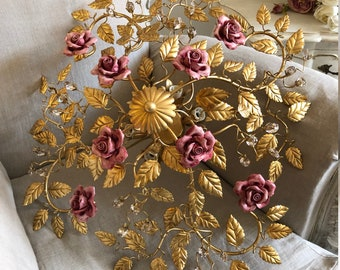 Gold leaf ceiling lamp ceramic roses and crystals 6 lights