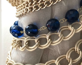 SET OF 2 Blue Bohemian crystals  and gold chains tiebacks