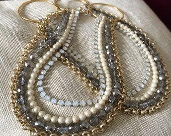 SET OF 2 Ivory pearls Bohemian faceted crystals white opale rhinestones tiebacks, decorative curtain tiebacks