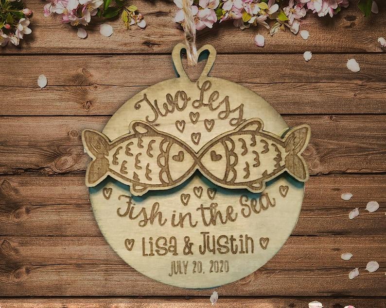 Rustic Guest Favor Wedding Favor Ornament Two Less Fish Wedding Favor Rustic Wedding Favors Wood Wedding Ornament Bulk Wedding Favors