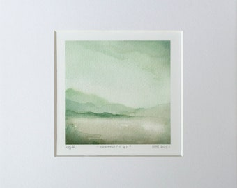 Giclee print watercolour painting small painting atmospheric landscape SERENITY IV.. abstract art