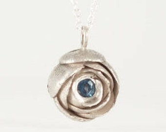 Flower Necklace - Sterling Silver Peony Flower Pendant with Blue Sapphire, Sapphire Necklace, September Birthstone, Geniune Sapphire