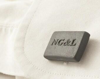 Personalized Engraved Cufflinks in Gray Porcelain, Custom Cufflinks