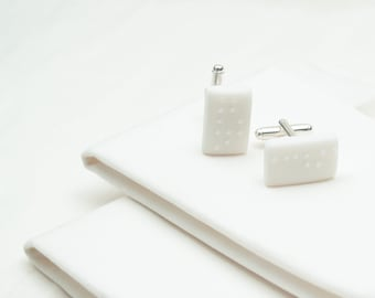 Personalised Braille White Porcelain Cufflinks
