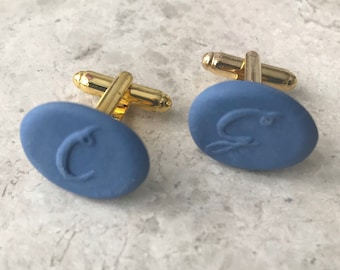 Personalized Engraved Cufflinks, Royal Blue Gold Porcelain Ceramic Cufflinks , Oval Initial Custom Cuff links, Wedding Groomsmen Gift