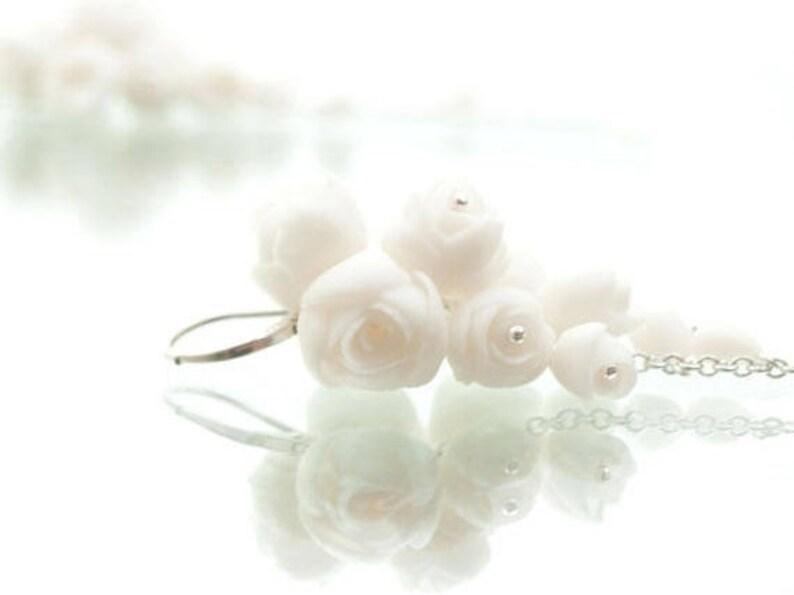 f3e7a3684 Long Dangle Flower Earrings White Porcelain Peony Cluster | Etsy