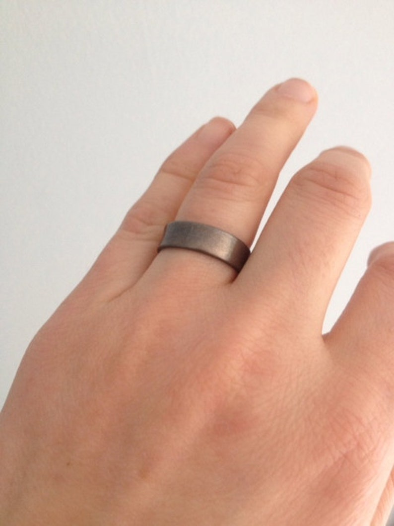 Mens Silver Wedding Band Handmade 6 mm x 1 mm Flat Wedding Band Ring Unisex Minimalist Ring Valkyrie Oxidized Finish