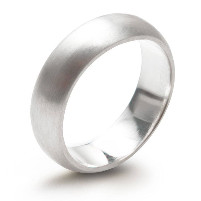Sterling Silver 6mm Super Heavy D Shape Ring Brushed Finish Half Round Wedding Band