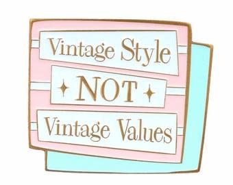 Vintage style, not vintage values jumbo enamel lapel pin brooch