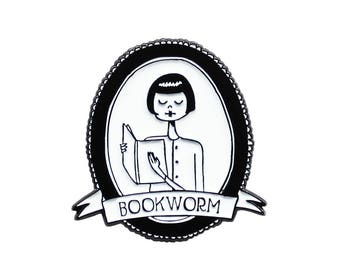 Bookworm enamel lapel pin for book lovers
