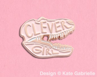 Clever Girl Jurassic Park enamel lapel pin / Buy 3 Pins Get 1 Free with code PINSGALORE