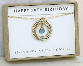 70th birthday gift, March birthstone jewelry for 70th, aquamarine jewelry for mother, 70th gift for her - Lilia