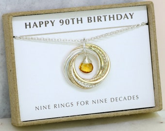 90th Birthday Gift 90th Birthday Necklace 90th Gift Mother