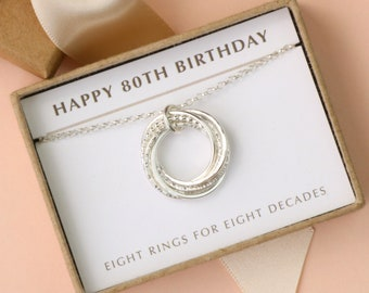 80th Birthday Necklace Silver Gift For Mother Grandma 8 Rings Decades