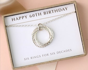 60th Birthday Gift For Her Silver 6 Interlocking Rings Necklace Milestone