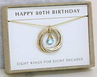 80th Birthday Gift December Birthstone Necklace For Grandma Present Mom