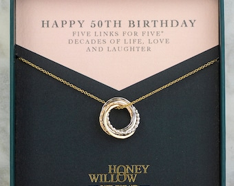 50th Birthday Necklace - The Original 5 Links for 5 Decades Necklace - Petite Mixed Metal