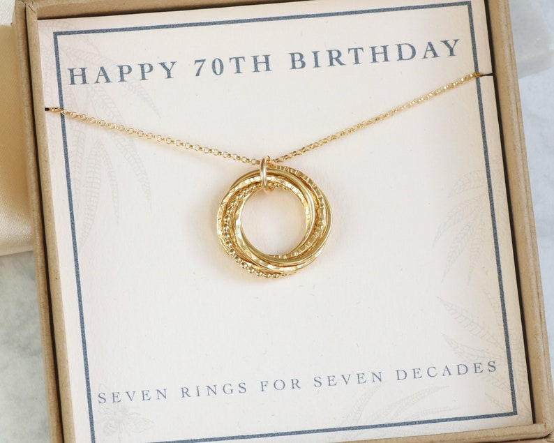 70th Birthday Jewelry Gift For Mom Grandma Sister Wife Gold Necklace