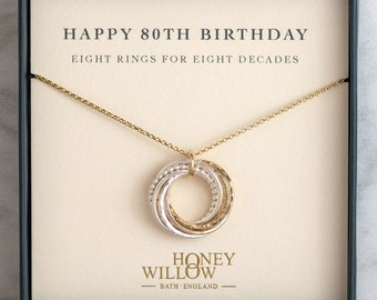 80th Birthday Gift | 80th Birthday Necklace | 8 rings for 8 decades | 80th Present for Grandma Mom