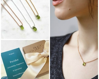 Petite peridot necklace, August birthstone necklace, green necklace, tiny gemstone necklace, solitaire necklace - Natalie