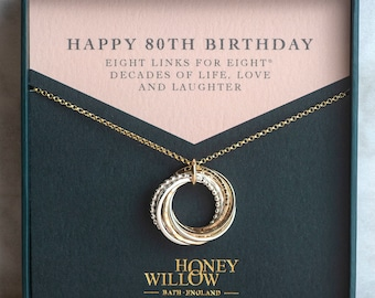 80th Birthday Necklace - The Original 8 Links for 8® Decades Necklace - Mixed Metal