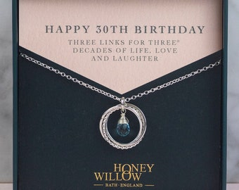 30th Birthday Birthstone Necklace - The Original 3 Links for 3® Decades Necklace - Silver