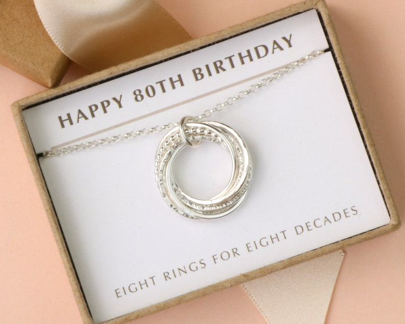 80th Birthday Necklace Silver Gift For Mother