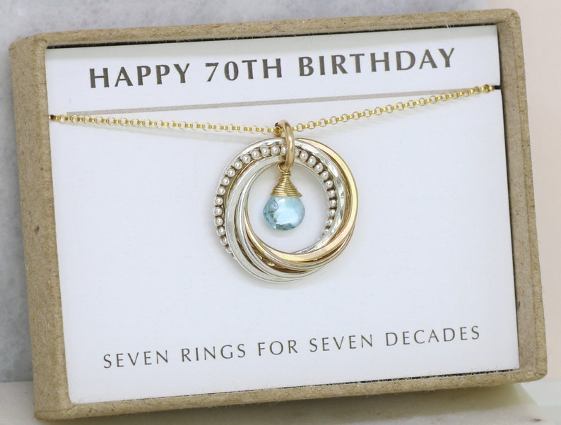 70th Birthday Necklace With Birthstone Gift For