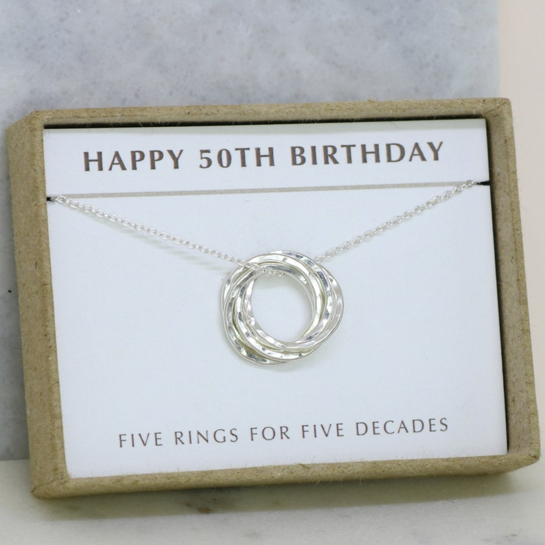50th Birthday Gift 5 Rings For Decades Dainty