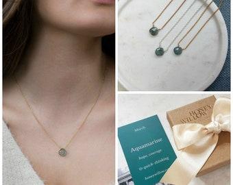 March birthstone necklace, dainty aquamarine necklace for March birthday, aquamarine jewellery delicate - Natalie