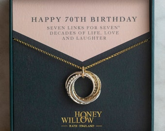 70th Birthday Necklace - The Original 7 Links for 7 Decades Necklace - Mixed Metal