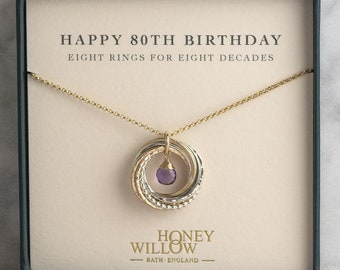 80th Birthday Gift | 80th Birthday Birthstone Necklace | 8 rings for 8 decades