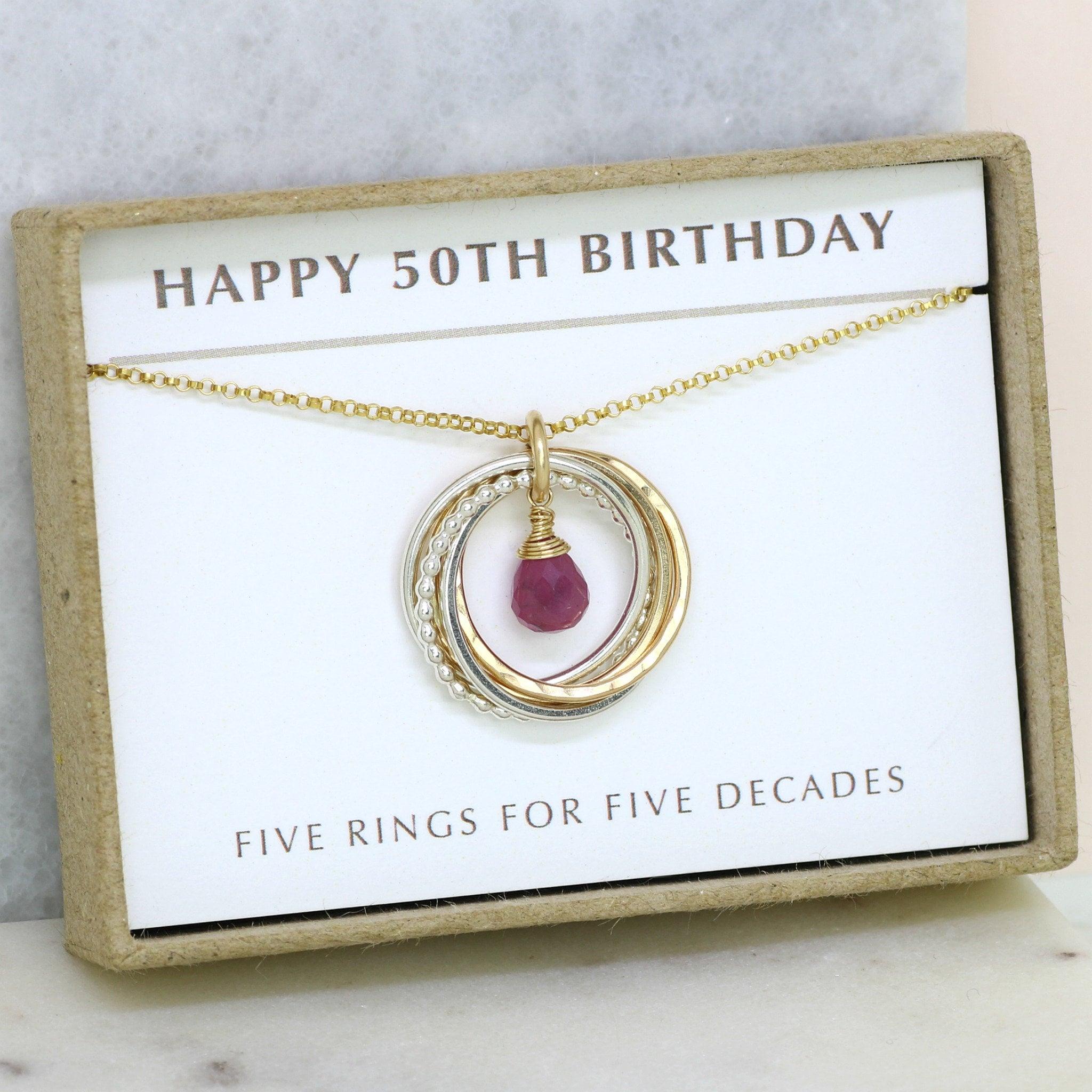 50th Birthday Gift September Birthstone Necklace 50th Pink