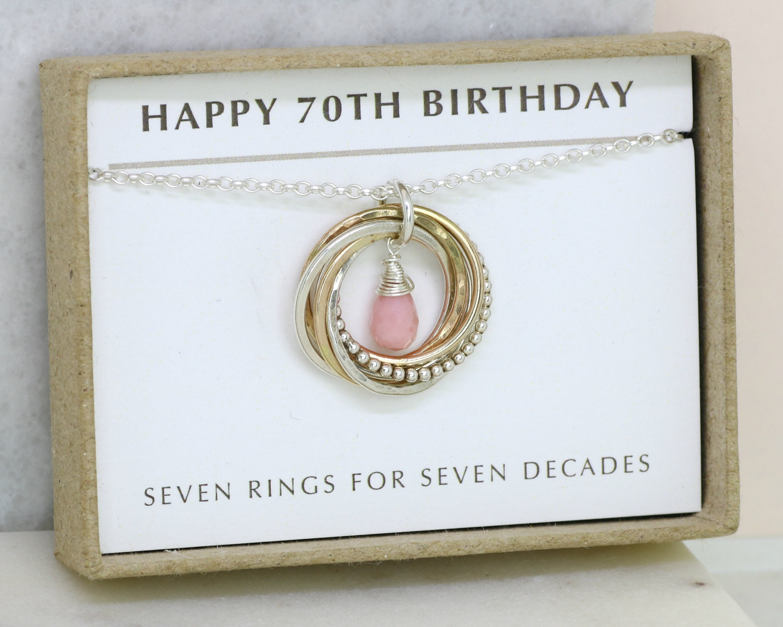 70th Birthday Gift October Birthstone Jewellery For Mom Grandma Milestone Necklace