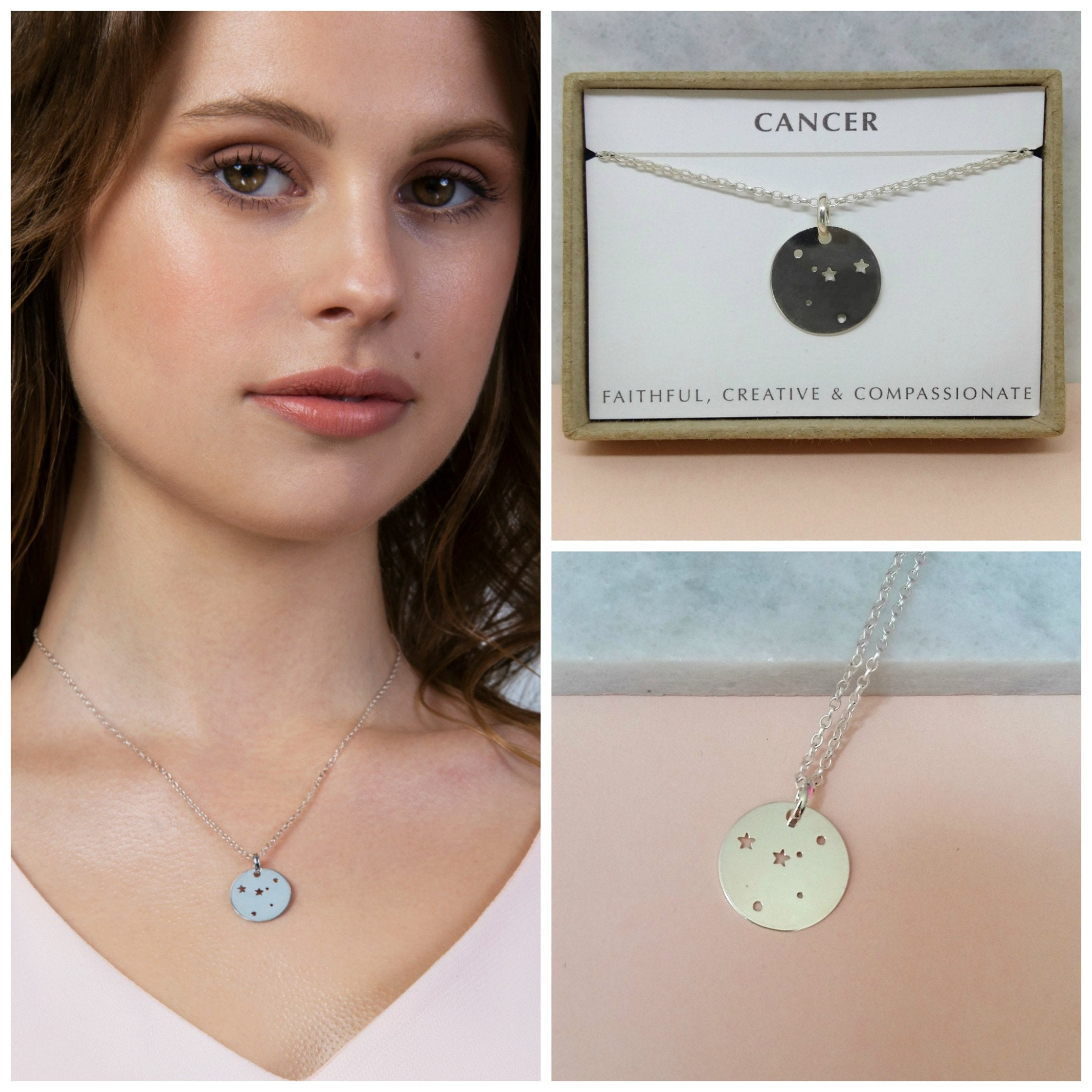 Cancer Necklace Constellation Zodiac Birthday Gift July