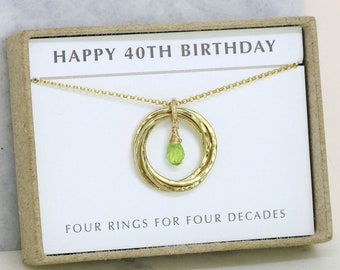 40th birthday gifts for women, peridot necklace, August birthstone necklace gold, 4 best friend necklace - Lilia