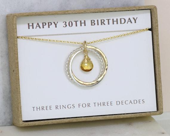 30th Birthday Necklace Citrine Jewelry Gift
