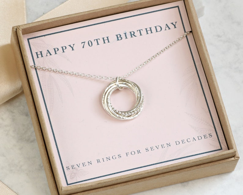 70th Birthday Necklace Silver Gift Mother