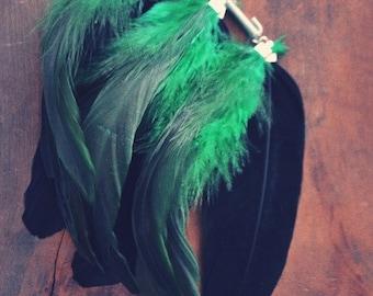 Green Harvest Feather Ear Cuff