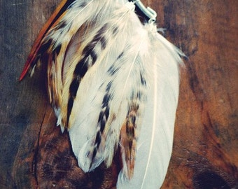White Willow Feather Ear Cuff/ Natural Feather Ear Wrap/ Feather Earrings/ Festival Accessories/ Feather Hair Accessories/ Hair Jewelry/
