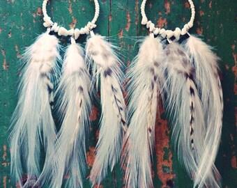 White Winds Feather Hoop Earrings/ White Feather Earrings/ Native Jewelry/ Boho Earrings/ Festival Earrings/ Beaded Earrings/ Hippie Earring