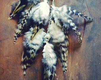 Long Grizzly Feather Ear Cuff/  Feather Ear Wrap/ Statement Earring/ Feather Hair Extension/ Festival Jewelry/ Feather Earring/ Boho Chic