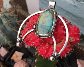 Turquoise Squash Blossom Necklace, Squash Blossom Necklace, Sterling Silver Necklace, Crescent Moon Necklace, Squash Blossom Pendant, Bolo