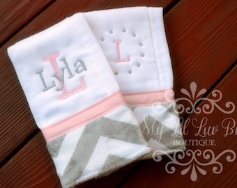 Personalized burp cloth girl set of two - baby shower gift - prefold diaper burp cloths - chevron burp cloths 2 - burp cloth monogrammed
