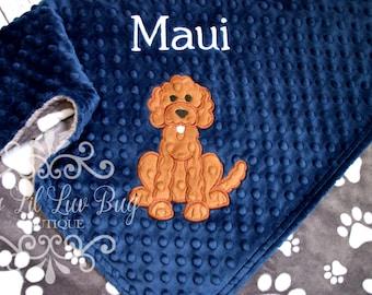 Custom Monogrammed Baby Minky Blanket and Chevron Bib and Burp Cloth Bulldogs