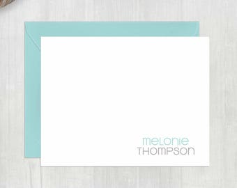 Personalized Note Cards • Two-Tone Stacked {FOLDED} • 10 Note Cards with Envelopes • Personalized Stationery • Thank You Notes • Stationary