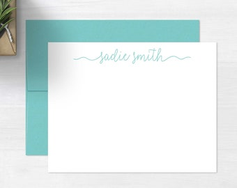 Personalized Note Cards Set • Ribbon Script {FLAT} • 10 Note Cards with Envelopes • Personalized Stationery • Personalized Stationary