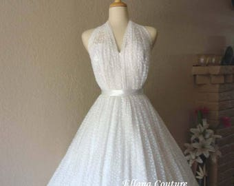 Monique - Elegant Vintage Inspired Wedding Dress. Tea Length.